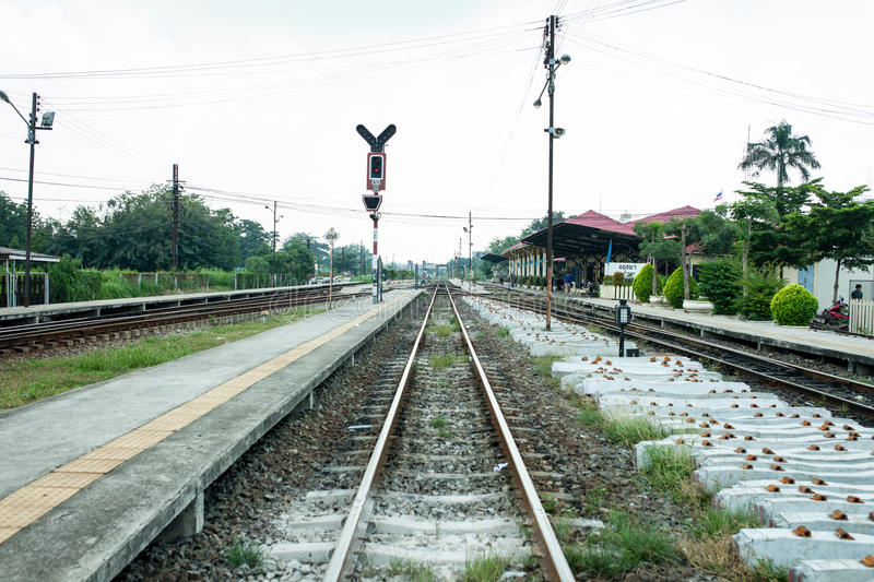 Road train and long way. Road railway in Thailand stock photography