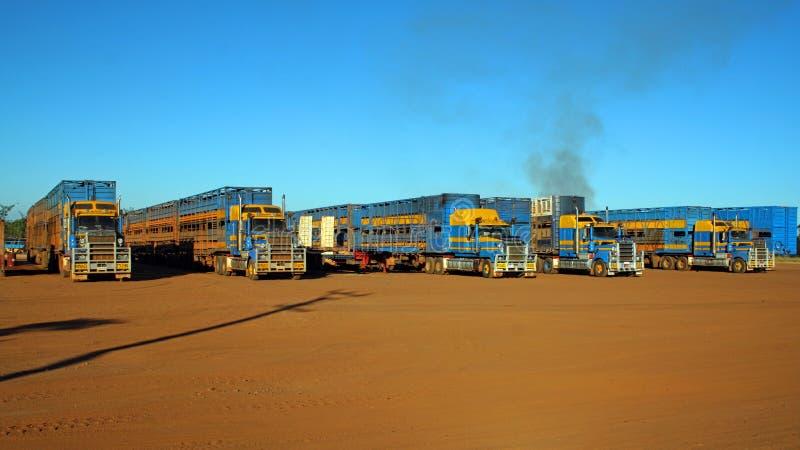 Road trains Australia stock photo