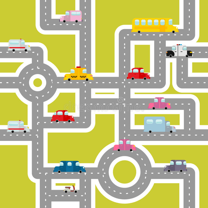 Road and transport seamless pattern. Cartoon map of cars stock illustration