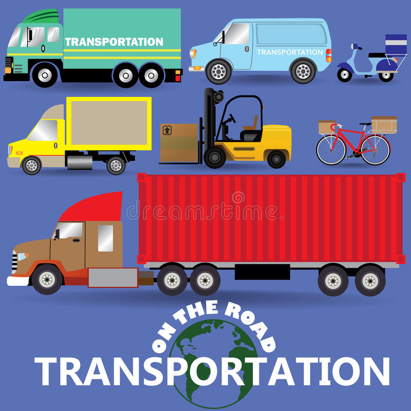 On the road transportation icons vector illustration