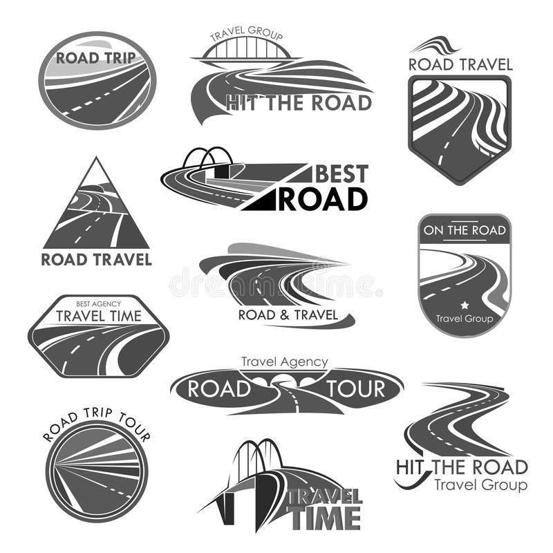 Road travel company agency vector template icons royalty free illustration