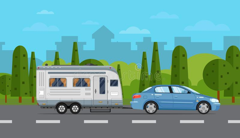 Road travel poster with car and trailer stock illustration