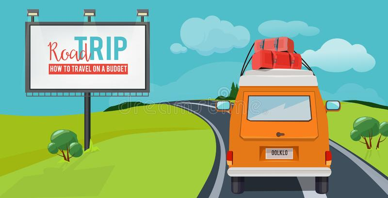 Road trip. Adventure concept with vacation travel driving car on highway vector urban landscape cartoon vector illustration
