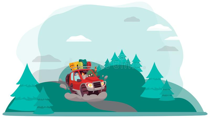Road trip adventures in nature, vector illustration stock images