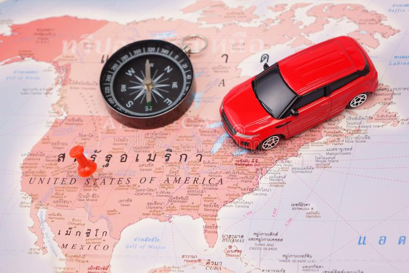 Road trip,car goes on map across USA royalty free stock photography