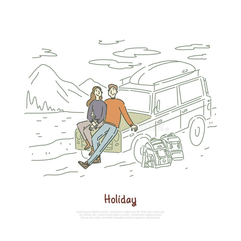 Road trip, couple in love on holiday, honeymoon vacation, backpackers, boyfriend and girlfriend sitting on hood banner royalty free illustration