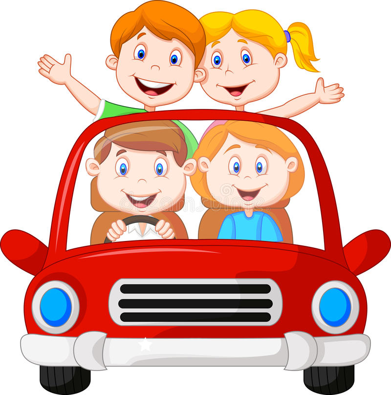 Road Trip with family cartoon vector illustration