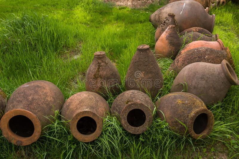 Ancient clay wine jugs. Road trip through georgia in springtime ancient clay wine jugs royalty free stock image