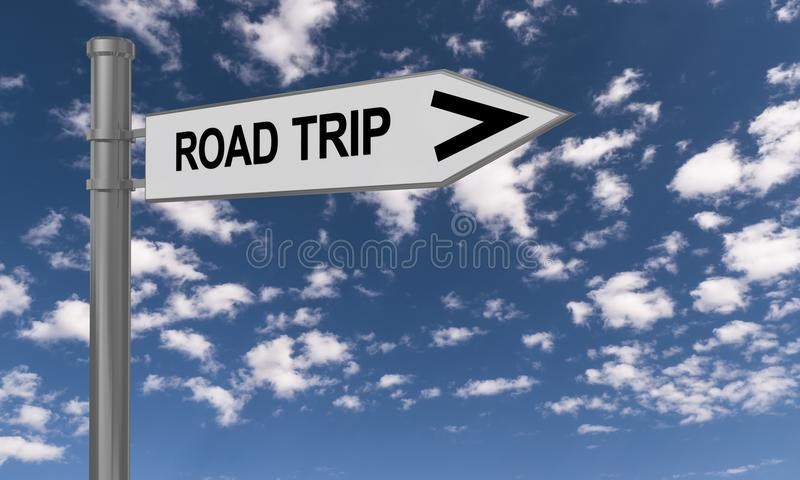 Road trip guidepost. And the sky in the background vector illustration