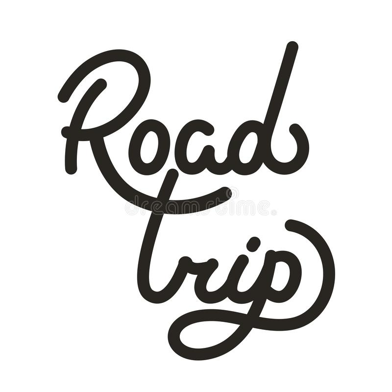 Road trip ink pen calligraphic vector lettering. Family travel, tourism, summer adventure. Black handwritten inscription. Holiday vacation, voyage. Greeting royalty free illustration