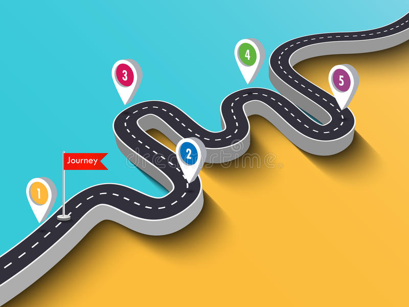 Road trip and Journey route infographic template with pin pointer royalty free illustration