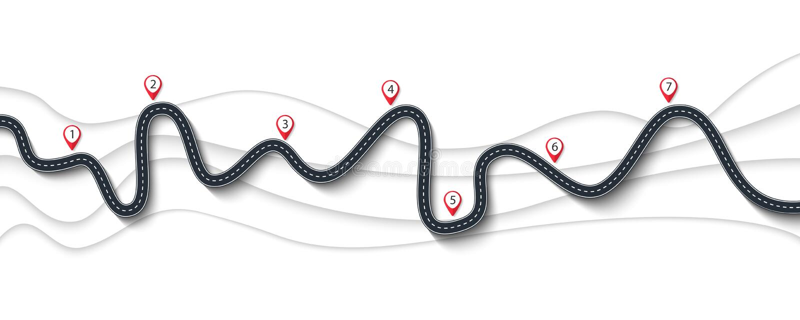 Road trip and Journey route. Winding Road on a White Background. Road trip and Journey route. Winding Road on a Colorful Background with pin pointer. Vector EPS royalty free illustration