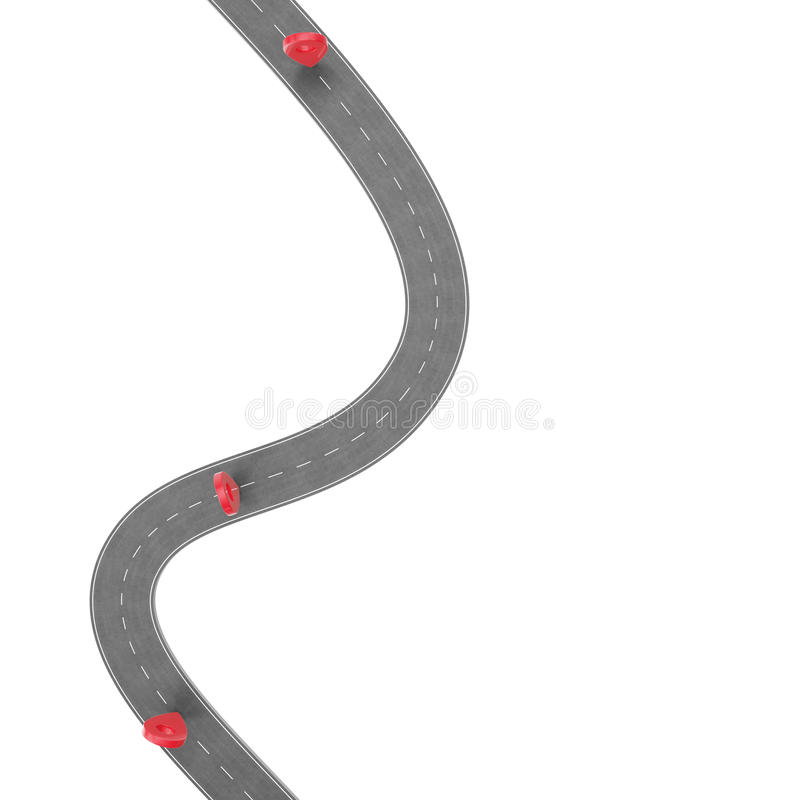 Road trip and Journey route. Winding Road on a white background with Pin Pointer. Road way location infographic template stock illustration