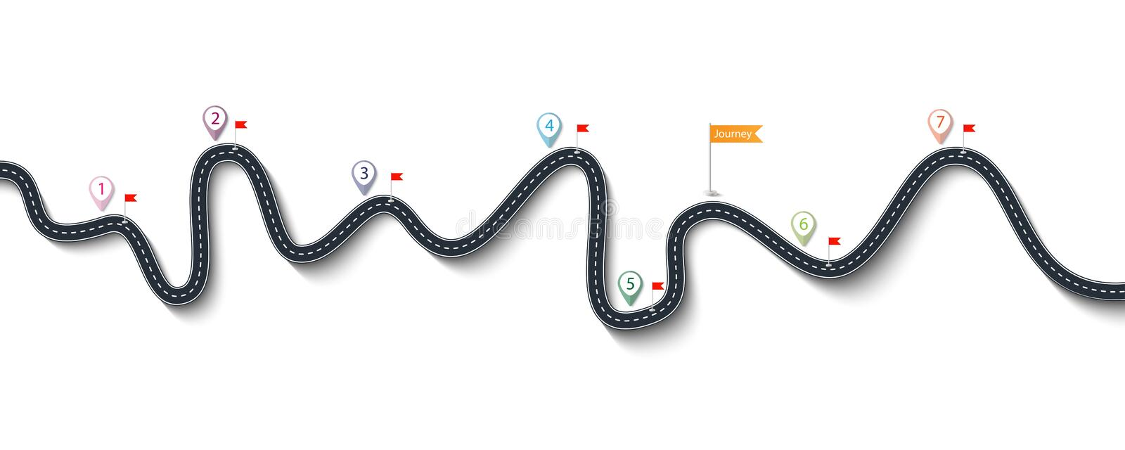 Road trip and Journey route. Winding Road on a White Isolated Background with Flags and Pin Pointers stock illustration