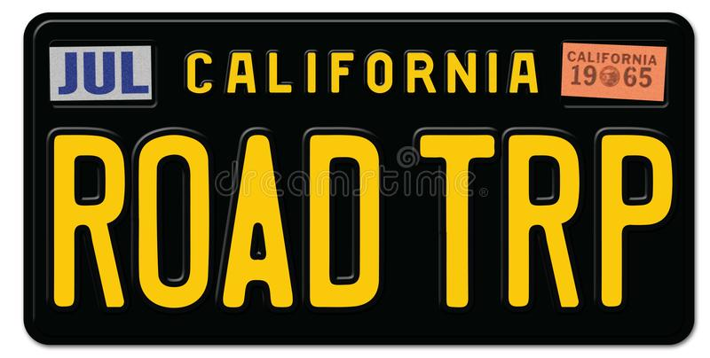 Road Trip License Plate California vector illustration