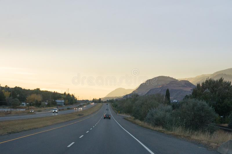 Road trip, mountain range around kamloops, Canada in fall. Road trip, mountain range around kamloops by sunset, Canada in fall stock image