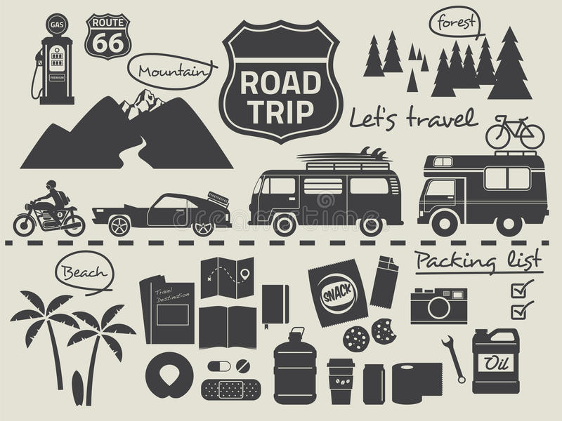 Road Trip Packing List Infographic Elements Stock Vector ...