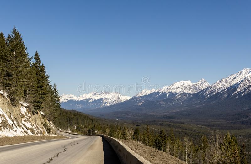 Road Trip in the Rocky Mountains on banff to windermere highway Kootenay Valley Viewpoint. Canada, landscape, nature, sky, travel, beautiful, blue, scenery stock photography