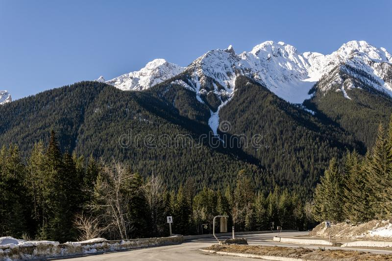 Road Trip in the Rocky Mountains on banff to windermere highway Kootenay Valley Viewpoint. Canada, landscape, nature, sky, travel, beautiful, blue, scenery stock images