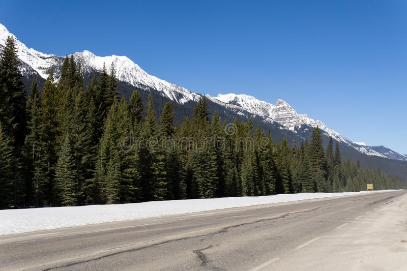Road Trip in the Rocky Mountains on banff to windermere highway. Canada, landscape, nature, sky, travel, beautiful, blue, scenery, scenic, view, glacier, peak stock photo