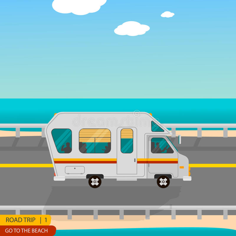 Road trip to the beach all family. On the caravan in style cartoon and flat royalty free illustration