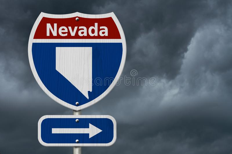 Road trip to Nevada, Red, white and blue interstate highway road sign with word Nevada and map of Nevada with stormy sky. Background royalty free stock images