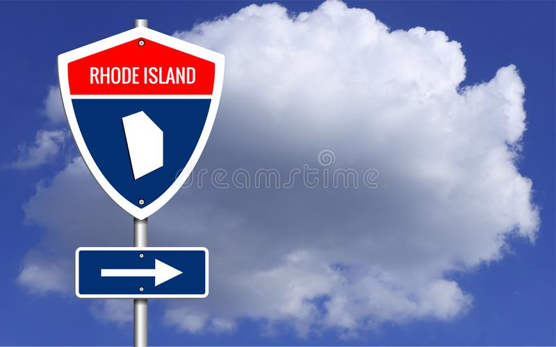 Road trip to Rhode Island, Red, white and blue interstate. Highway road sign with word Rhode Island and map of Rhode Island with sky Cloud background stock photos