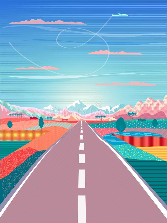 Road trip to Rocky Mountain Summer Voyage adventure. Vector Summer painting poster on the theme of Road trip to rocky mountains, car, blue sky land, airplane vector illustration