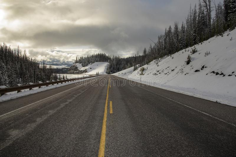 Road trip in Wyoming to the Yellowstone National Park stock photos