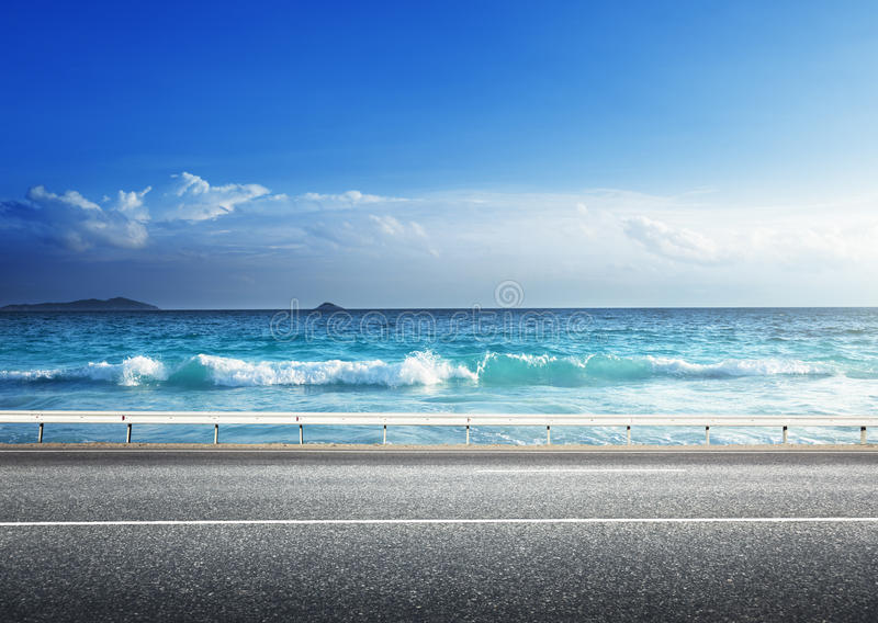 Road on tropical beach royalty free stock photos