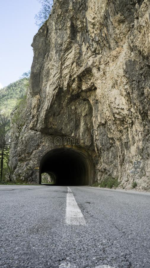 Road tunnel mountains. Durmitor park in montenegro. Dangerous road royalty free stock photography