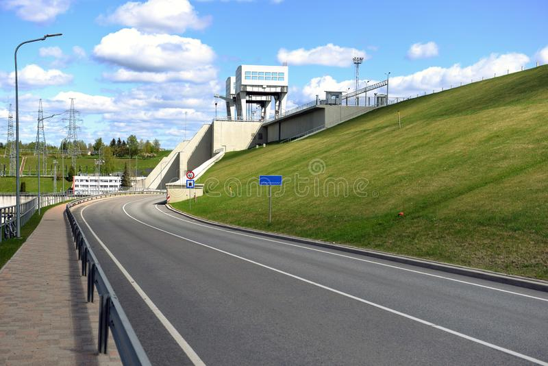 Road and tunnel under hydroelectric power station in Aizkraukle, Latvia - image stock images