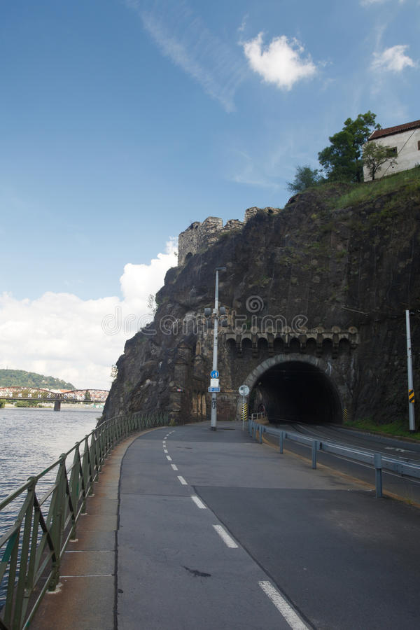 Road tunnel in Vysehrad. Prague. Czech Republic stock photos