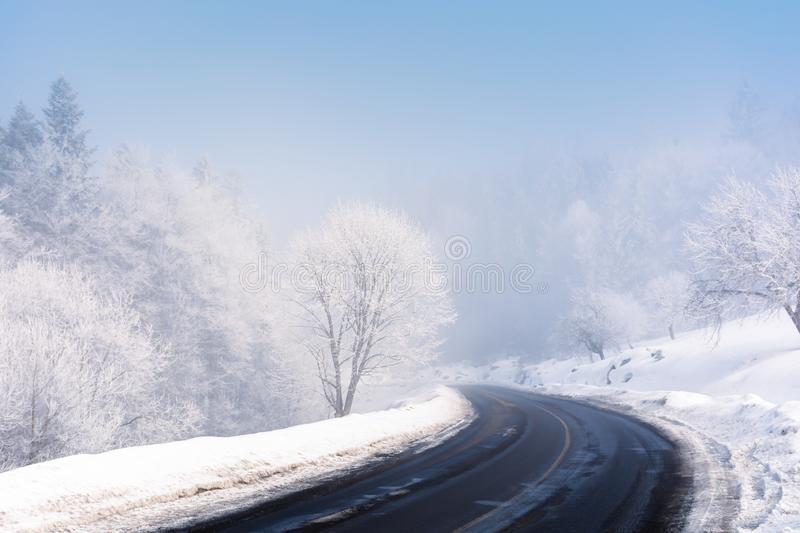 Road turn in to the forest in winter. Amazing foggy weather. trees in hoarfrost. roadside covered with high snow. cold and bright forenoon. deceptive nature stock photography