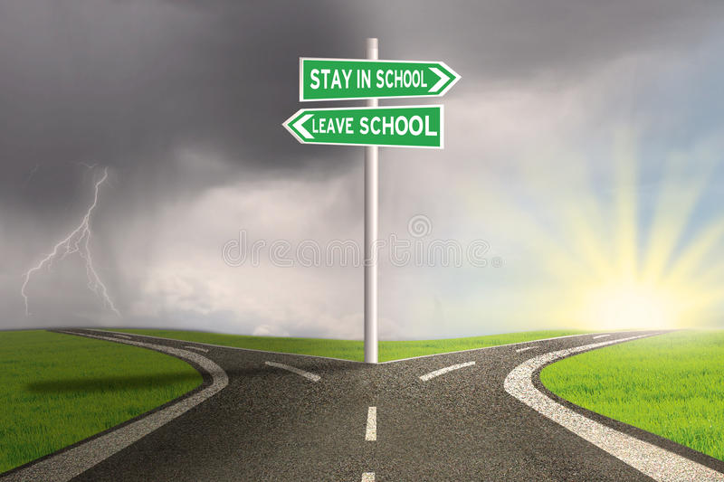 Road with two choices to stay or leave school royalty free illustration