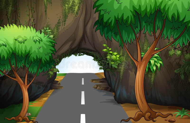 A road under the cave stock illustration