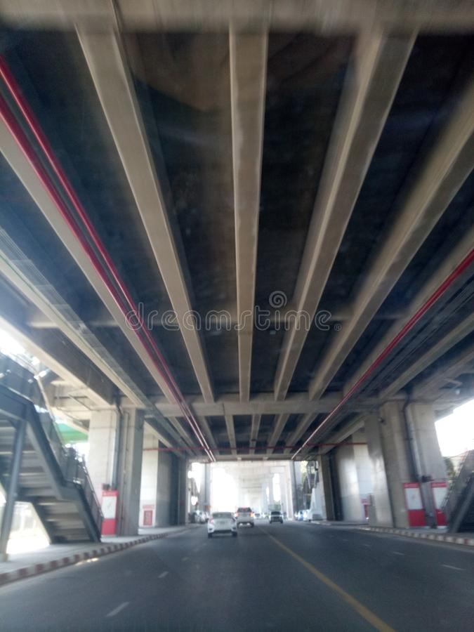 On the road cement under construction the bridge structure. On the road under construction the bridge structure royalty free stock image
