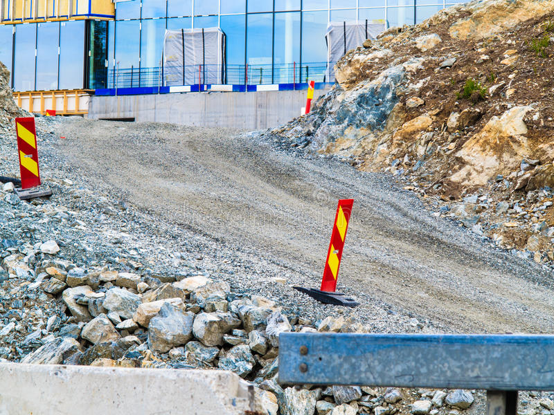 Road under construction. Roadwork signs on the street royalty free stock images