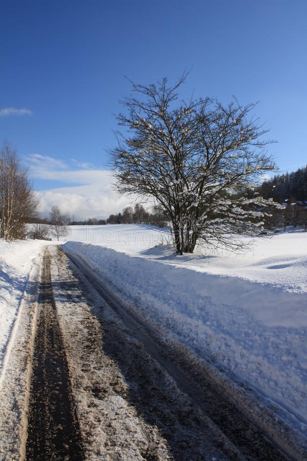 Road Under The Snow Royalty Free Stock Photography