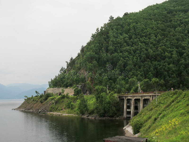 Road van Circumbaikal - het historische deel van trans Siberische railw royalty-vrije stock foto's