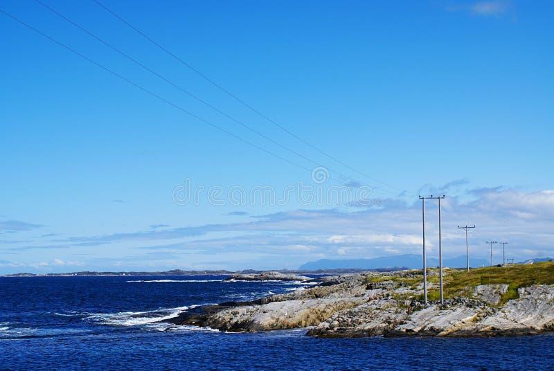 Road van de Atlantische Oceaan in Noorwegen Mooi zonnig landschap van Scandinavië royalty-vrije stock afbeelding