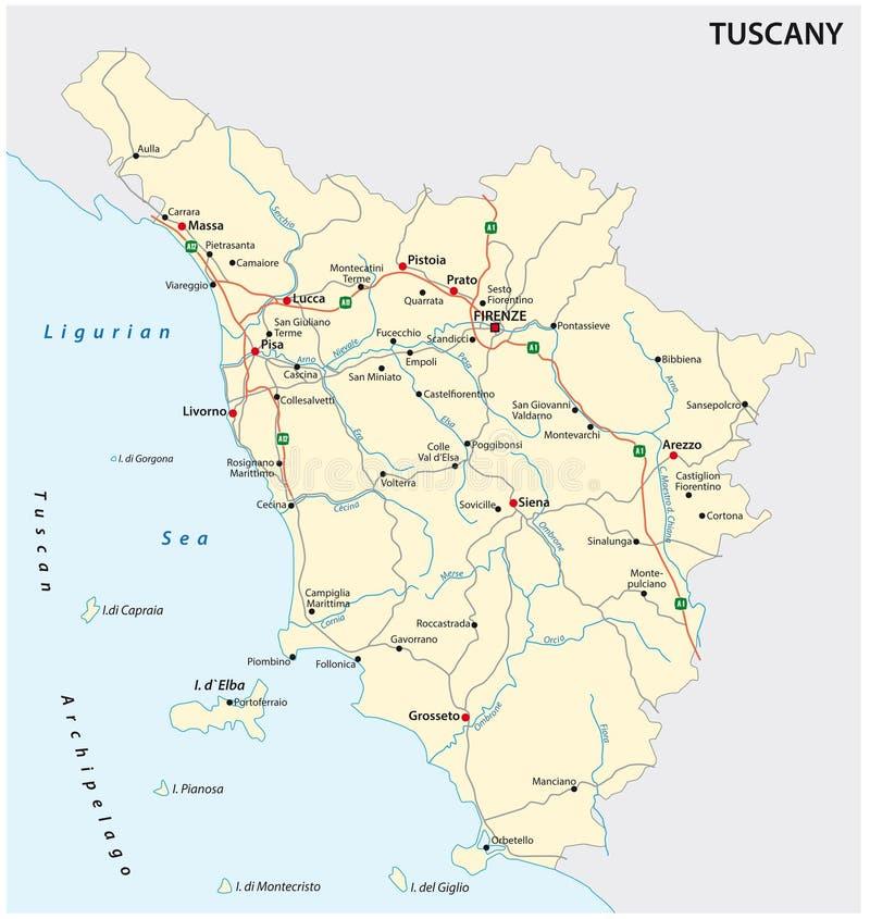 Road vector map of the Italian region Tuscany vector illustration