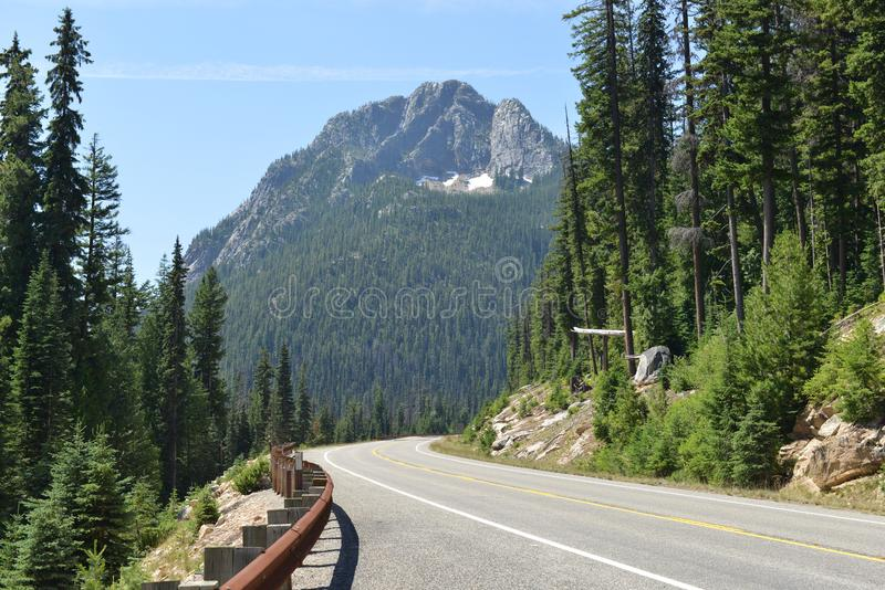 Road view along Highway 20, Washington State royalty free stock photography