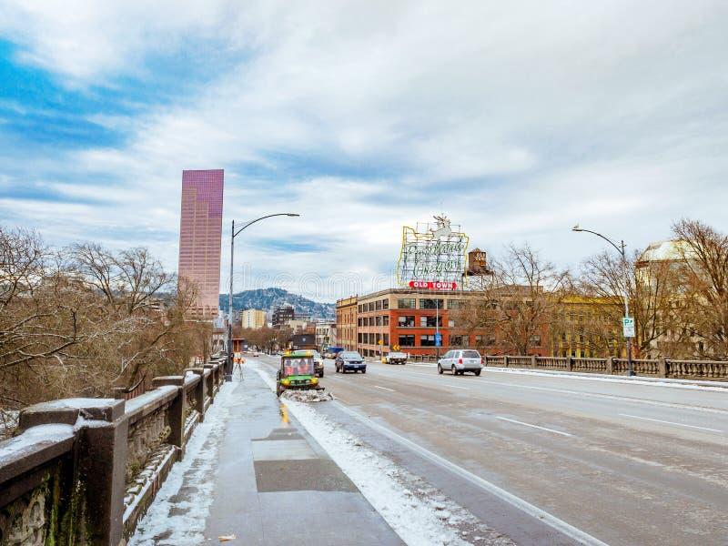 Road view on Burnside Bridge in downtown Portland. Portland, US - Dec 26, 2017 : Road view on Burnside Bridge in downtown Portland stock photos