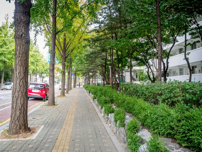 Road view of Sanggye-dong on Oct 10, 2017 in Seoul, South Korea stock photos
