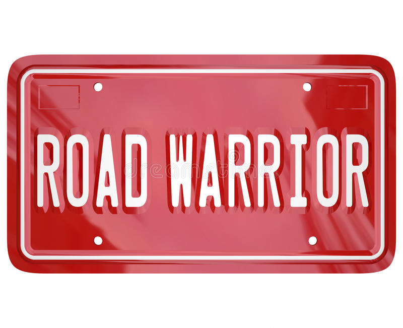 Road Warrior Words License Plate Business Traveler Salesperson. Road Warrior words on red license plate for business traveler or salesperson always on the road royalty free illustration