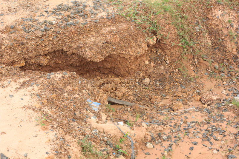 Road was water erosion. The road was water erosion royalty free stock photography