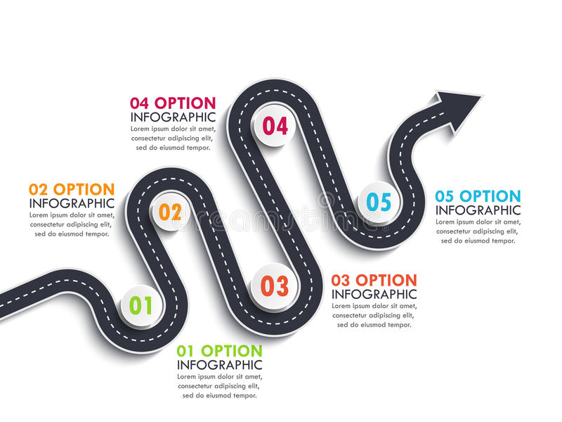 Road way location infographic template with a phased structure. Winding arrow road timeline. Road way location infographic template with a phased structure vector illustration