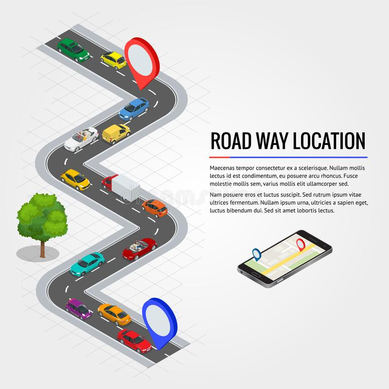 Road way location and Mobile gps navigation. Flat isometric high quality city transport vector illustration