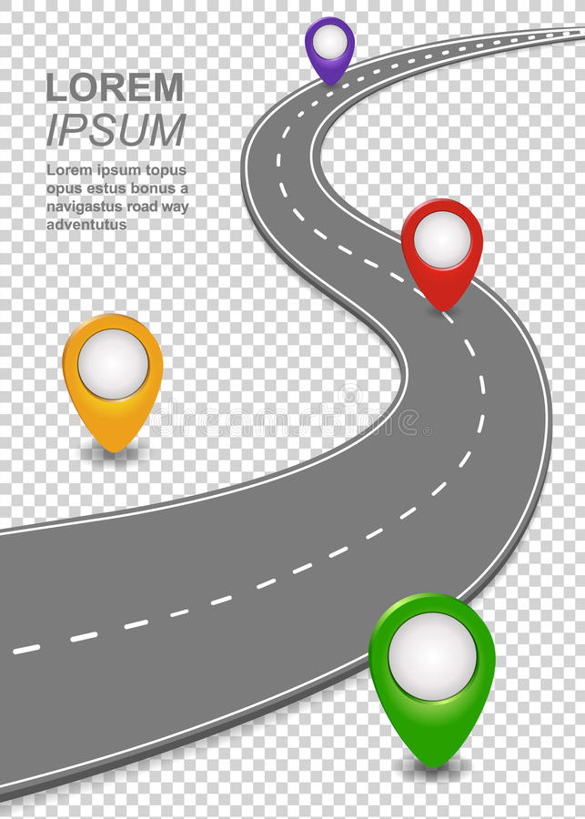 Road way navigation infographic. Highway Template with a curvy car freeway, Roadmap with map pins. Vector illustration stock illustration